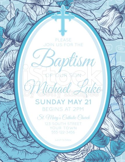 Baby Boy Baptism Or Christening Invitation Template royalty-free stock vector art