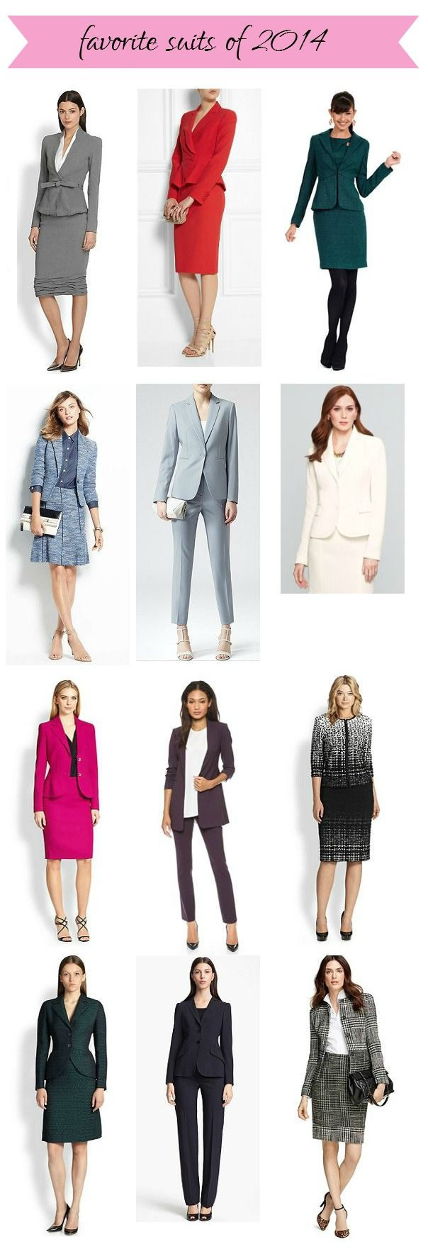 Realized I forgot to pin this -- my favorite women's suits of 2014!  Lots of skirts suits in here, as well as colorful suits -- but a few pants suits as well.  Which do you prefer for a fun but professional suit look?