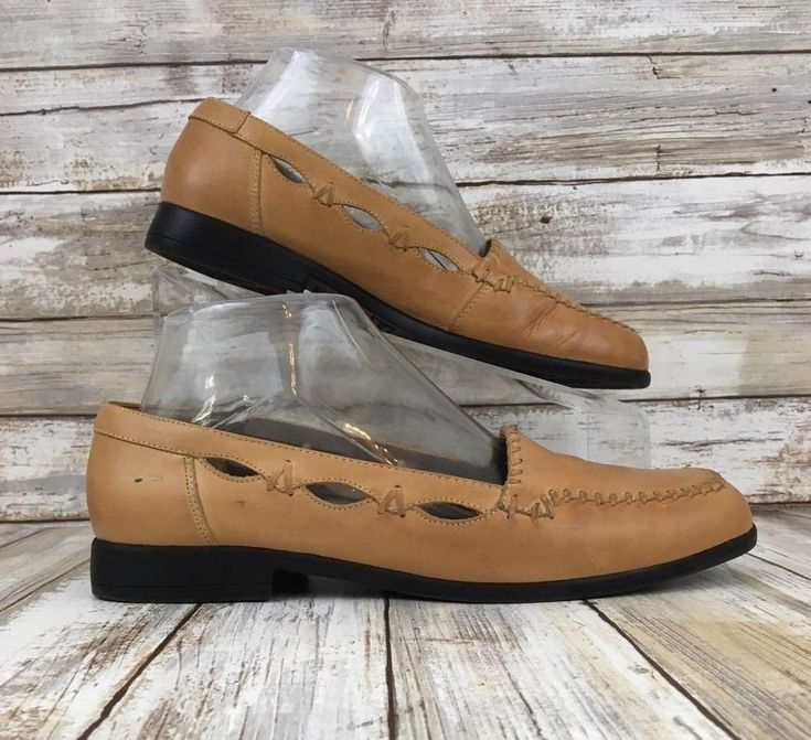 Laura Scott Womens 7M Eldon Brown Leather Moc Toe Slip On Casual Or Dress Loafer #LauraScott #Loafers #Casual