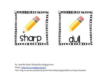 FREE dull or sharp pencil basket labels: