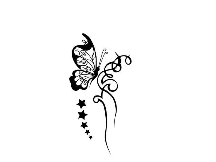 Black And White Butterfly Tattoos Designs