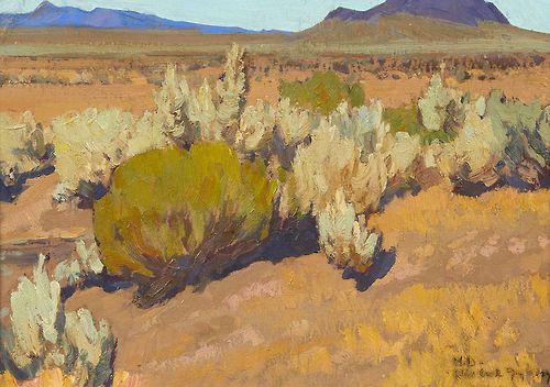 Maynard Dixon (1875-1946). Sage and Rabbit Brush, 1927. 10 x 14 in.
