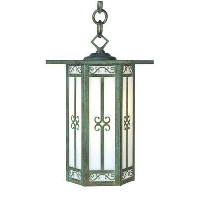 """Arroyo Craftsman Lily 1-Light Outdoor Hanging Lantern Size: 11"""" H x 8.5"""" W, Finish: Antique Copper, Shade Color: Tan"""