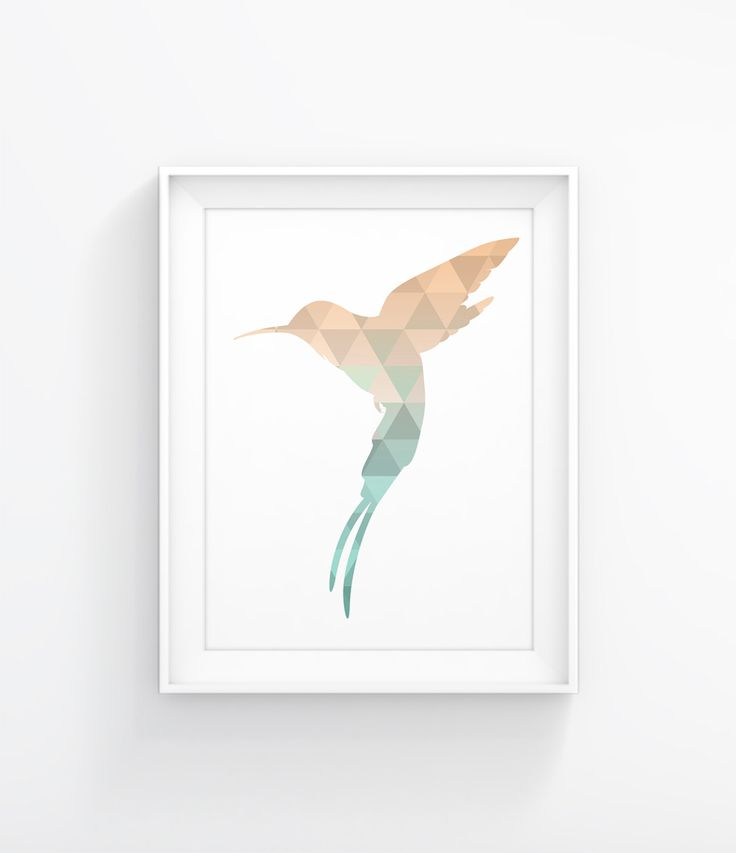 Mint Hummingbird, Printable Animal Art, Warm Gold Print, Mint and Gold, Hummingbird Print Printable Art, Gold and Mint, Geometric Animal 033 - pinned by pin4etsy.com