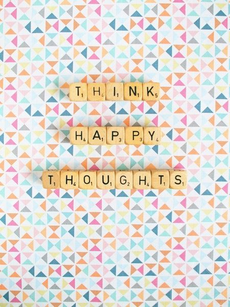 Think Happy Thoughts. Geometric Art Print. Fine Art Photography. Word Dice. Scrabble. Home Decor. Wall Art. Colors. Colorful Pastel. Size A