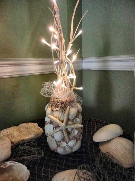 Nautical Decor SeaShell Beachy Centerpiece  Vase with Flalmeless  LED lit branches and Star fish accent and driftwood on Etsy, $32.00