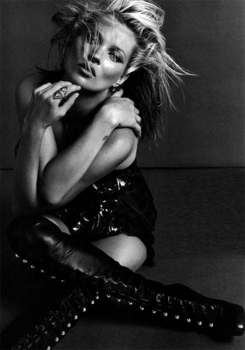 Kate moss | famous | model | unique | love | black & white | fashion | high fashion | editorial | amazing | beautiful | fierce | black leather