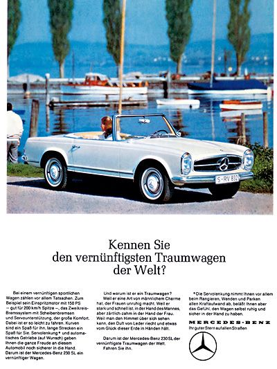 Mercedes SL Ad http://www.autorevue.at/motorblog/mercedes-roadster-190-sl-230-sl-baureihe-107-oldtimer.html