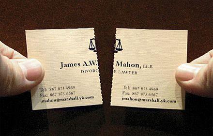 Un exemple de carte de visite prédécoupée (et donc détachable) : deux pour le prix d'une !: Creative Business Cards, Idea, Divorce Lawyer, Creative Cards, Graphics Design, Lawyer Business, Lawyers, Business Cards Design, Design Blog