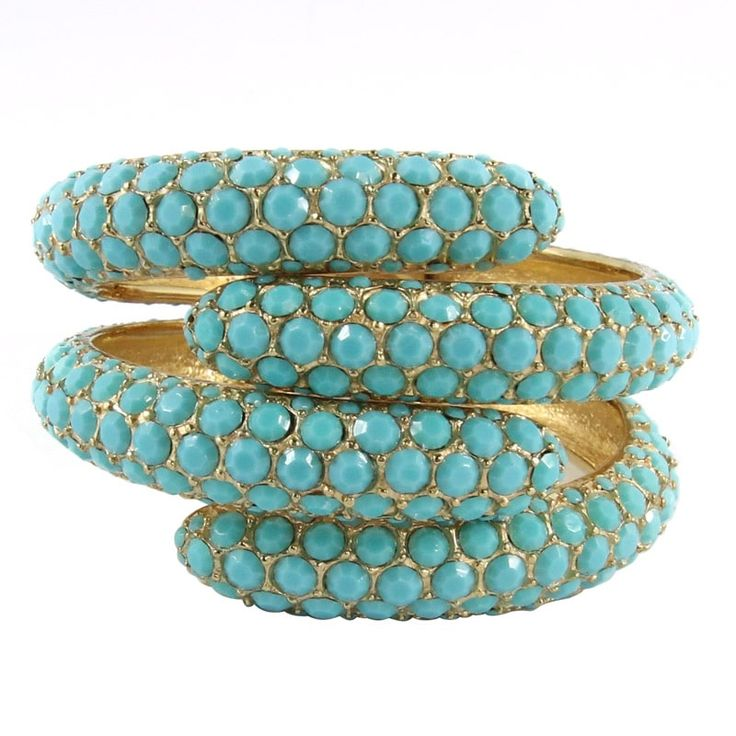 Ciner NY Turquoise Crystal / Gold Plate Clamper Bangle