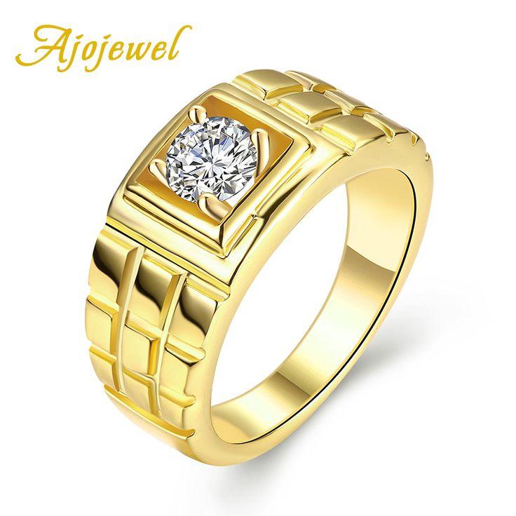 Ajojewel #8-10 keren pria pernikahan engagement perhiasan mode man finger rings dengan cubic zirconia