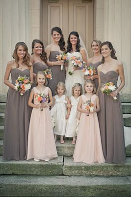 Allure dresses: I like how the older flower girls/jr. bridesmaids are in the accent color.