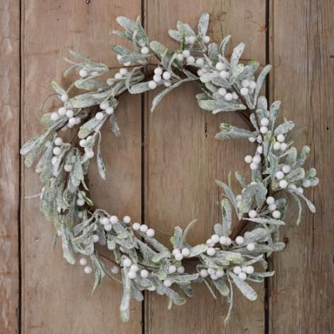 Gisela Graham Glitter Frosted Mistletoe Wreath - £25.00 - A great range of Wreaths & Garlands gifts and homewares from The Contemporary Home Online Shop