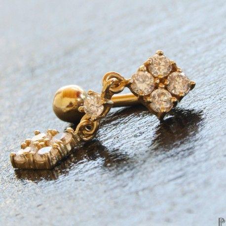 Piercing Nombril Inversé Or 14 carats. http://piercing-pure.com/p/277-piercing-nombril-inverse-or-14-carats.html #piercingnombril #gold #bijou