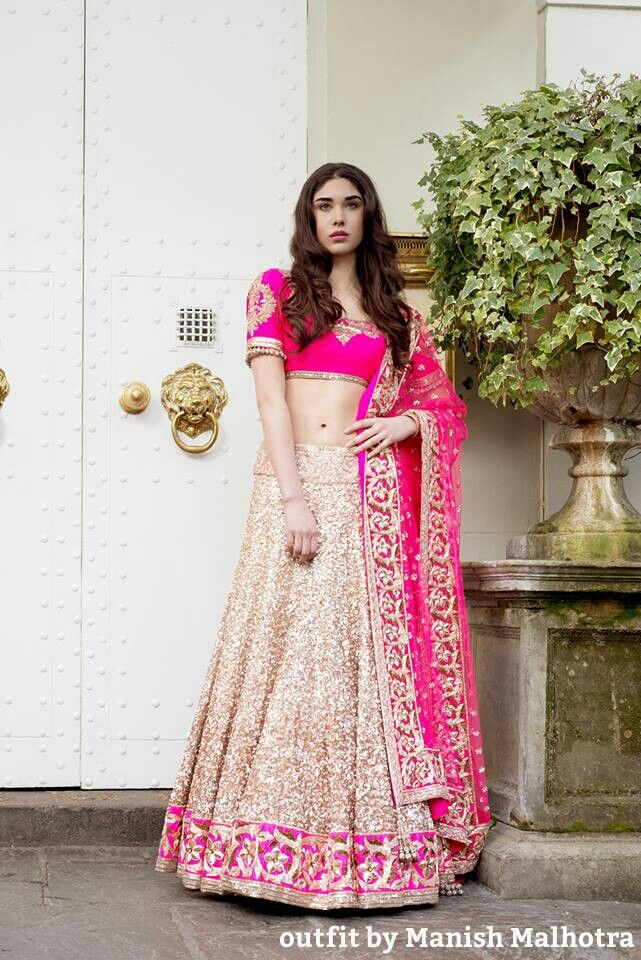 Wedding lehenga perfect for a reception by Manish Malhotra.  Indian wedding. Indian wedding clothes