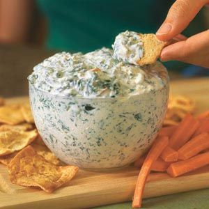 healthy spinach dip - no cream cheese, uses blended cottage cheese!