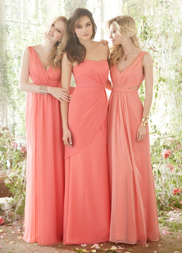 #Bridesmaids and Special Occasion Dresses by Jim Hjelm Occasions: Styles JH5401, JH5411, JH5402 in coral shades #wedding