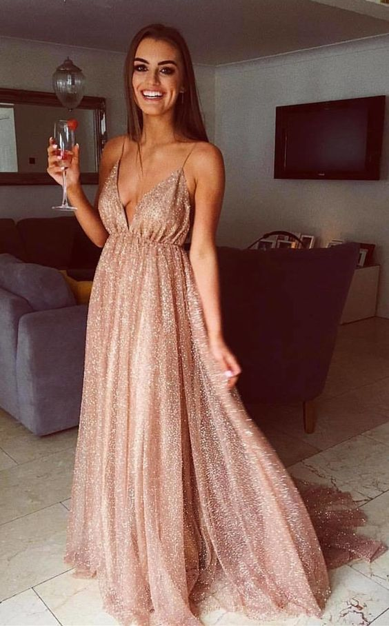 f194cb4c195 Sparkly Straps Sequins Gold Long Prom Dress
