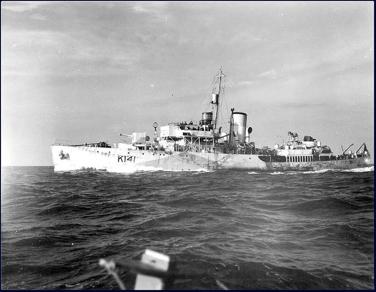 A view of HMCS Summerside at sea, taken from another ship, circa 1943-1945. Identification:Pennant number: K141 Honours and awards: Atlantic, 1941-44;  Normandy, 1944; English Channel, 1944-45 Gulf of St. Lawrence, 1942, 1944