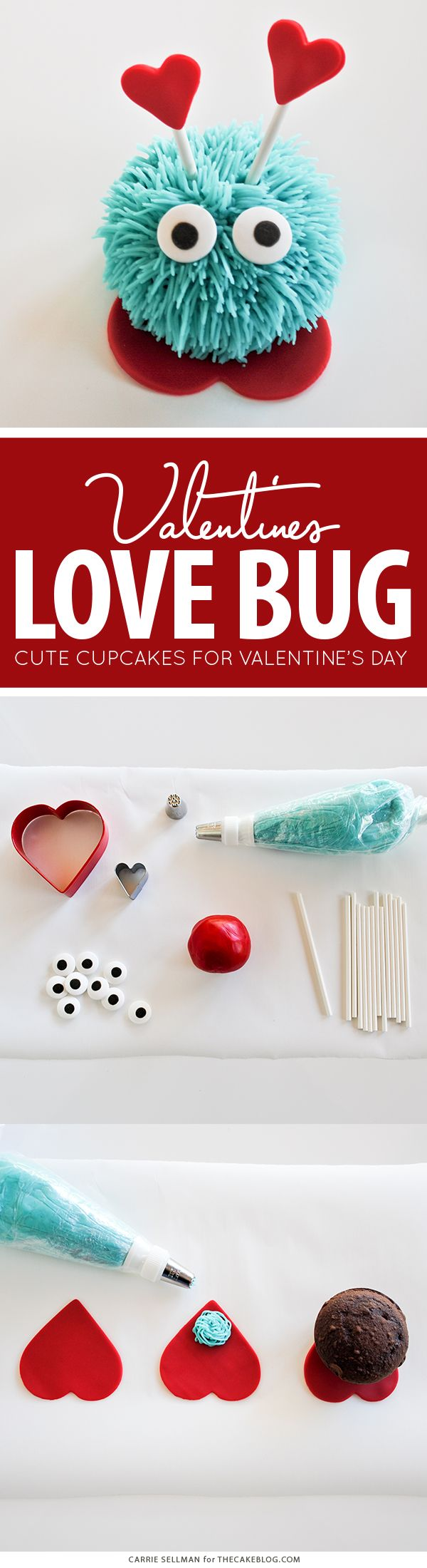 Love Bug Cupcakes - a fun Valentines Day dessert for kids | by Carrie Sellman for TheCakeBlog.com