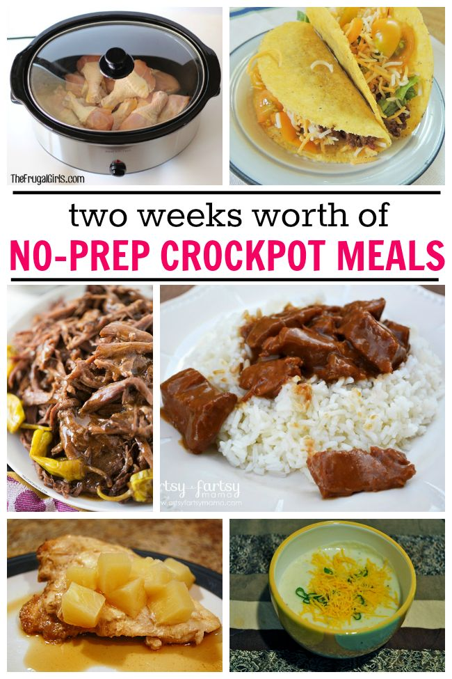 These crockpot meals require no chopping, dicing or browning.  Just dump and go!