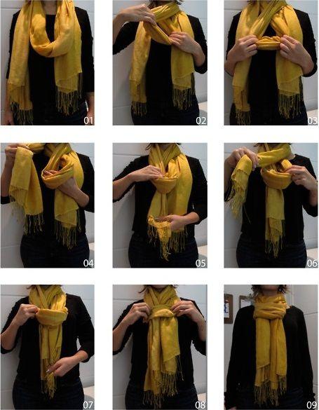 Comment faire un noeud d'écharpe pashmina original autour du cou, un noeud d'écharpe original pour homme et femme, technique pour attacher son pashmina.