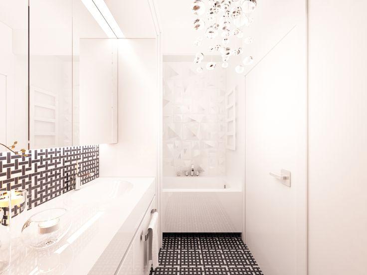 Biała łazienka z czarno-biała mozaiką