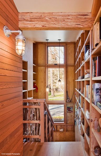 strawbale house - bookshelves! These look like great architects :)