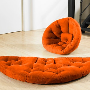 Nest Futon Orange now featured on Fab. Great idea for my new empty room