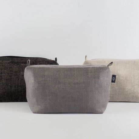 Herringbone Linen Travel / Big Cosmetic Bag