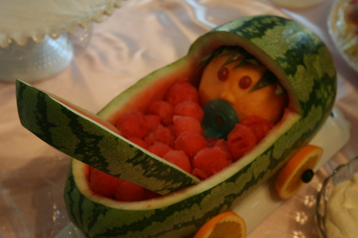 """Watermelon """"stroller"""" made by Shelley, Mike and Jessica at Megan's baby shower"""