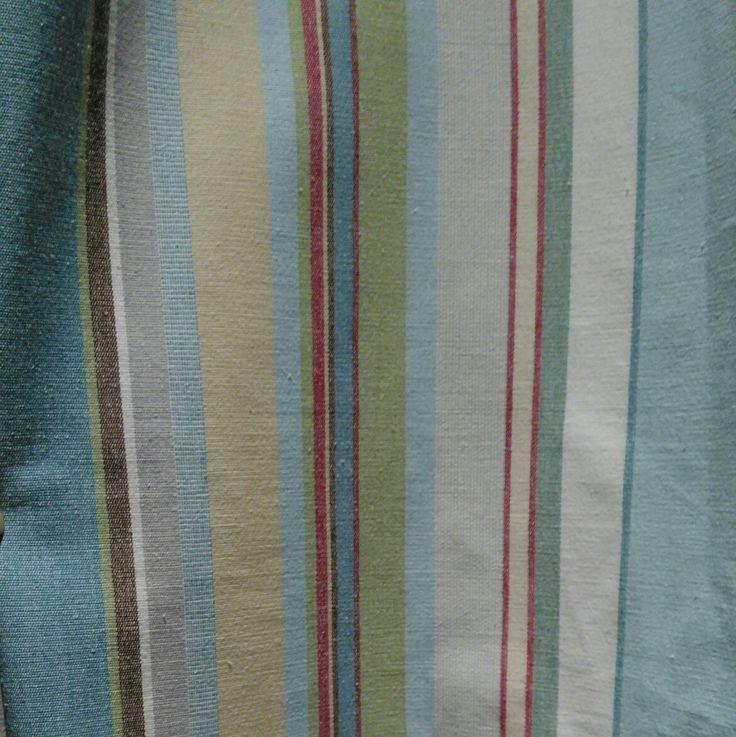 Green &blue striped curtain close up