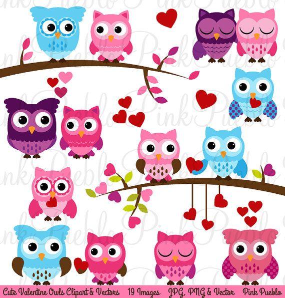 Valentine Owl Clipart Clip Art Valentine's Day Owls by PinkPueblo, $6.00
