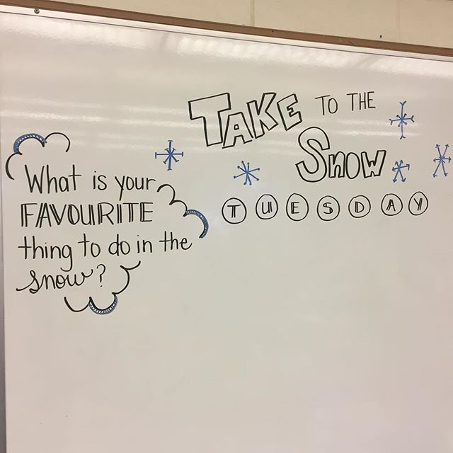 """Well, it's official! The snow is falling!! Our """"winter"""" is here. #itssnowing #miss5thswhiteboard #teachersofinstagram #grade7blondesquad #teachersfollowteachers"""