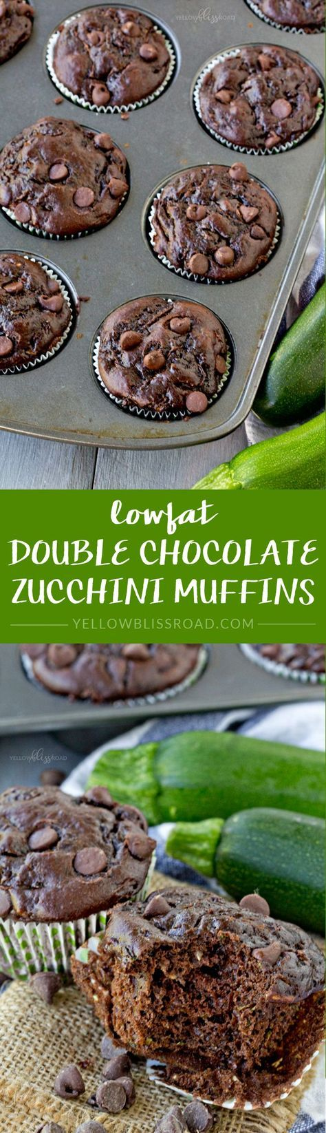 Lowfat Double Chocolate Zucchini Muffins Recipe - made healthier with Greek Yogurt and applesauce instead of oil or butter