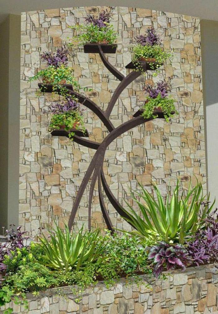 décoration murale pur le jardin, arbre en bois appliqué sur ...