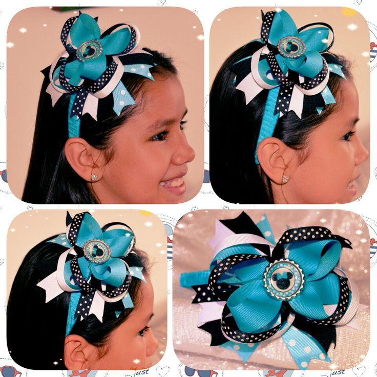 Diadema Navy Minnie: Azul turquesa-Blanco-Negro