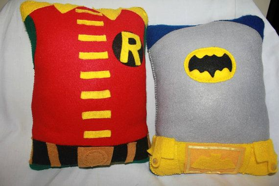 Adam West/Burt Ward Batman and Robin Pillows by GetSTUFT on Etsy, $30.00