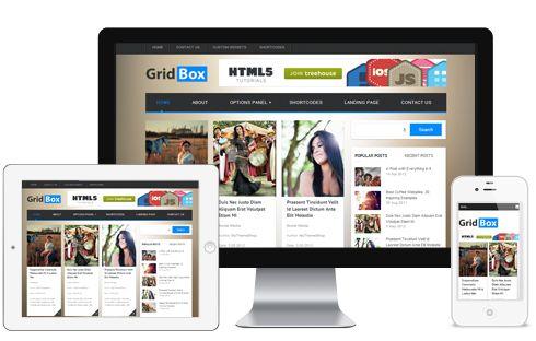 GridBox A 3 Column Responsive Magazine WordPress Theme with Flashy jQuery