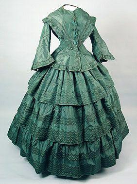 American Green Silk Day dress, 1855-60 Session 2 - Lot 590 - $1,400.00