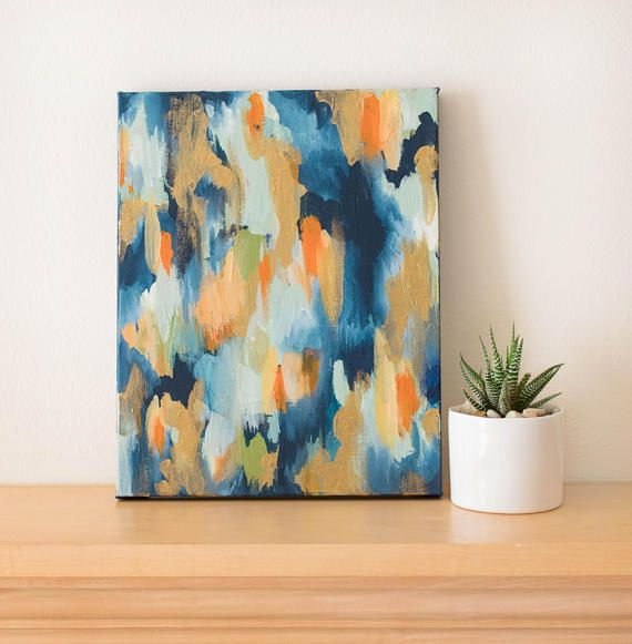 Wall Art 10x8 Abstract Painting Gold Accent Small Abstract Abstract Painting Painting Abstract