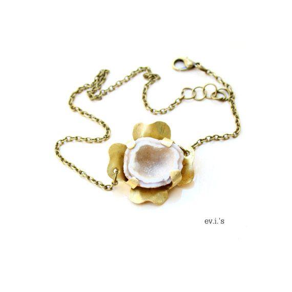 Cream Druzy Agate Geode Brass Flower by EVIsMetalworkJewelry, €28.00
