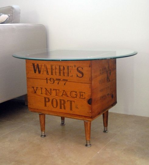 DIY side table from a wine crate  would use better legs and different top ...lol