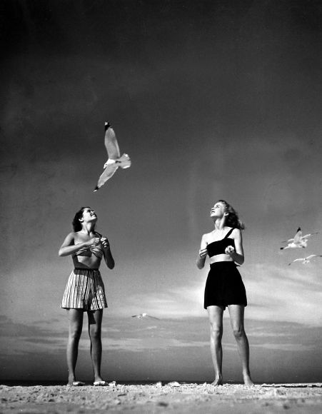 Models Lee Mathews and Bobby Chambliss feeding gulls while modeling new bathing suit styles, Winter Haven, FL., 1943  Staff Picks IV - Howard Greenberg Gallery - 2014