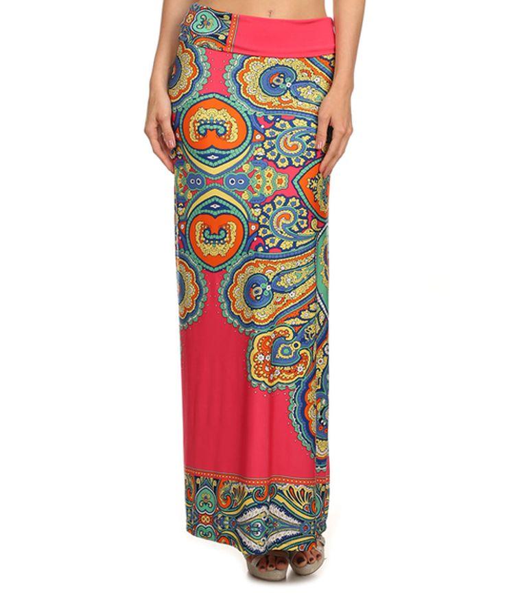 42POPS Pink & Blue Arabesque Maxi Skirt
