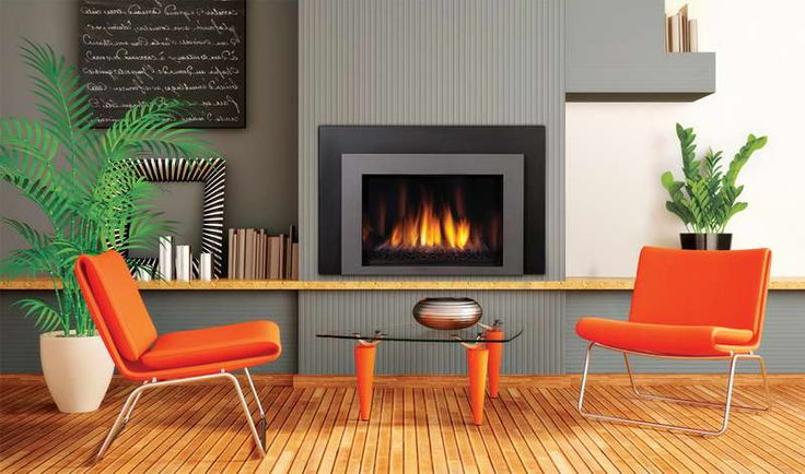 Contemporary Gas Fireplace Design With Orange Seats