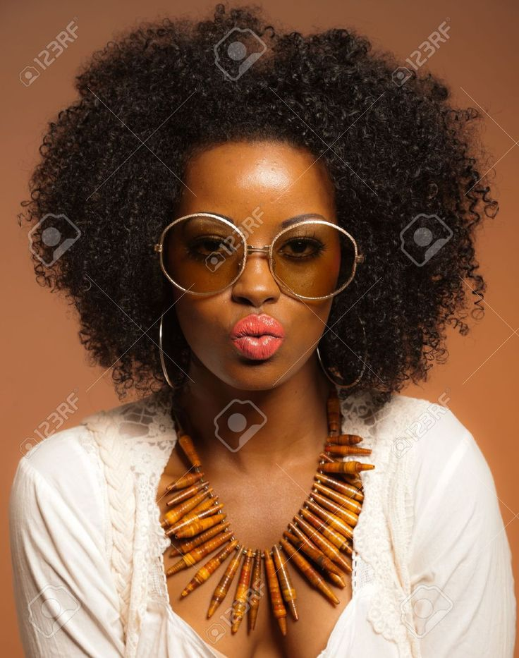 Retro 70s fashion black woman with sunglasses and white ...
