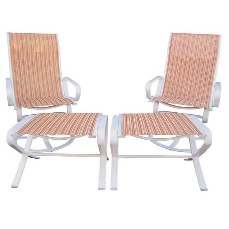 Brown jordan highback swivel lounge chairs with ottomans