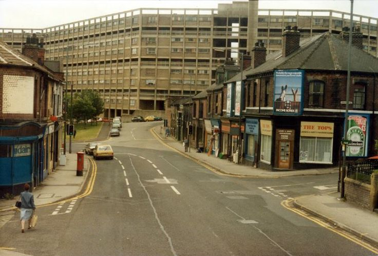 Langsett Road from the junctions with Ash Street left and Burgoyne Road right looking towards Kelvin Flats