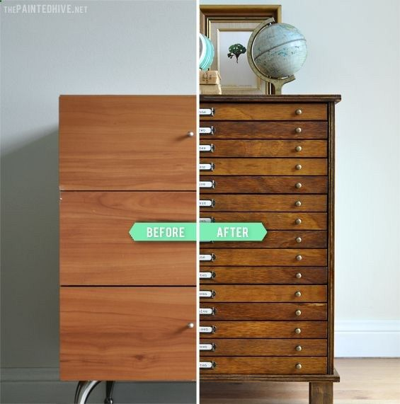 DIY Multi-Drawer Cabinet from Laminate Bedside Table | The Painted Hive